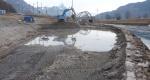Aushubarbeiten für die Geländeabtiefung im Januar 2011.