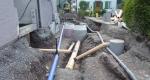Werkleitungsgraben eingangs Rosengasse, Blick in Richtung Süden: Wasser-, Schmutz- und Meteorwasserleitung