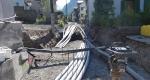 Werkleitungsgraben eingangs Rosengasse, Blick in Richtung Vorbereitungsarbeiten für Verlegen des EW-Rohrblocks